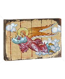 "Icon Flying Angel Wall Art on Wood 8"""
