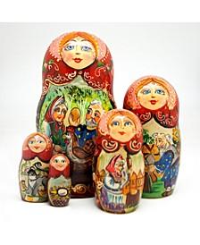 Golden Egg 5 Piece Russian Matryoshka Stacking Dolls Set