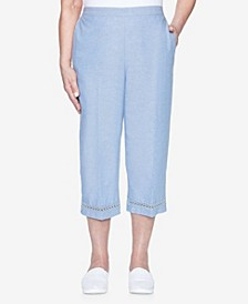 Plus Size Pull On Chambray Capri with Lace Trim