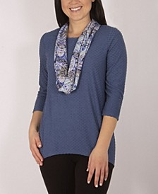 Jewel Neck Top with Scarf
