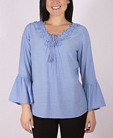 3/4 Sleeve V-Neck Blouse with Crochet Trim and Tie