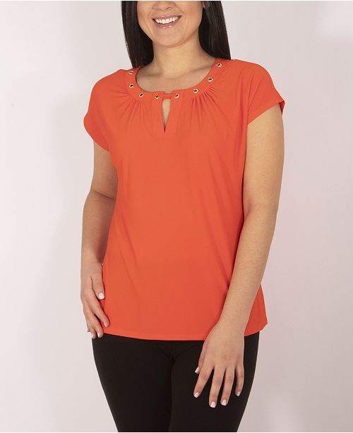 NY Collection Cap Sleeve Top with Grommet Details and Keyhole