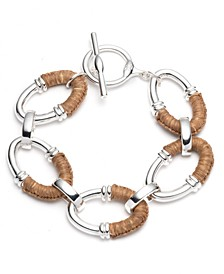 Silver-Tone Raffia-Wrapped Oval Link Flex Bracelet