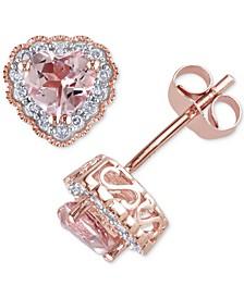 Morganite (1 ct. t.w.) & Diamond (1/10 ct. t.w.) Heart Stud Earrings in 10k Rose Gold