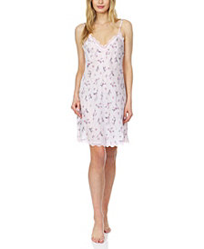 Flora Monika Floral-Printed Charmeuse Chemise Nightgown