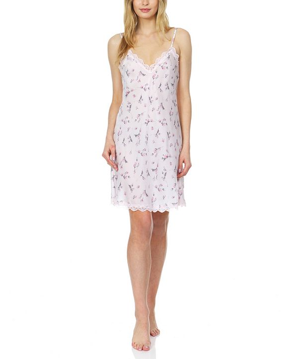 Flora by Flora Nikrooz Flora Monika Floral-Printed Charmeuse Chemise Nightgown