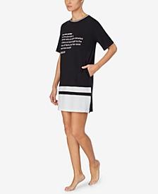 Women's Striped Sleep Shirt Nightgown