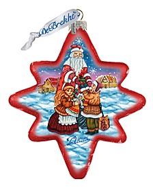 Gift Giver Santa North Star Glass Ornament