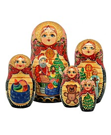 Night Before Christmas 5 Piece Russian Matryoshka Nested Doll