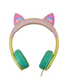 Kids SafeSounds Cat Led Light-Up Wired Headphones