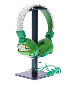 SafeSounds - Kids Green Dino Printed Volume-Limiting Wired Headphones