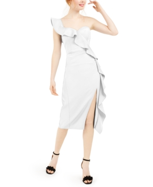 Aidan Mattox AIDAN BY AIDAN MATTOX RUFFLED ONE-SHOULDER MIDI DRESS