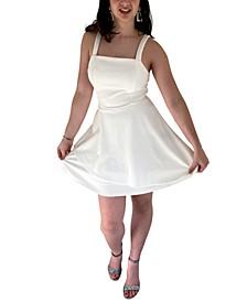 Juniors' Square-Neck A-Line Dress