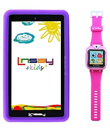 "7"" Kids Pink Funny Tablet Android 10 with 1.5 Kids Smart Watch Cam Selfie Pink"