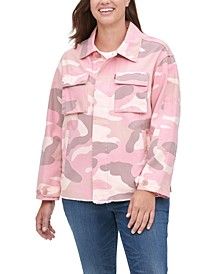 Trendy Plus Size  Cotton Camo-Print High-Low Hem Jacket