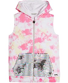 Big Girls Cotton Tie-Dyed Flip-Sequin Hoodie