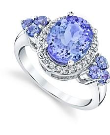 Tanzanite (3 ct. t.w.) & Diamond (1/4 ct t.w.) Ring in 10k White Gold