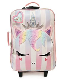 Girls Queen Miss Gwen Unicorn Striped Luggage