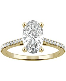 Moissanite Oval Engagement Ring (2-1/2 ct. t.w. DEW) in 14k White Gold or 14k Yellow Gold