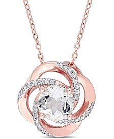 "White Topaz Floral Swirl 18"" Pendant Necklace (2-3/5 ct. t.w.) in 18k Rose Gold-Plated Sterling Silver"