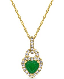 "Emerald (5/8 ct. t.w.) & Diamond (1/4 ct. t.w.) Heart Lock 17"" Pendant Necklace in 14k Gold"