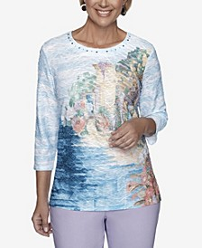 3/4 Sleeve Scenic Print Textured Knit Top