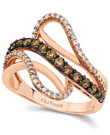 Chocolate by Petite Chocolate and White Diamond Wave Ring (5/8 ct. t.w.) in 14k Rose Gold