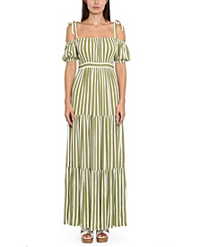 Plus Size Striped Tie-Sleeve Maxi Dress