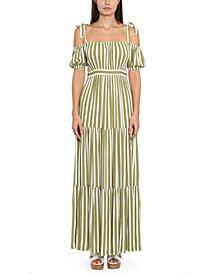 Michael Michael Kors Plus Size Striped Tie-Sleeve Maxi Dress