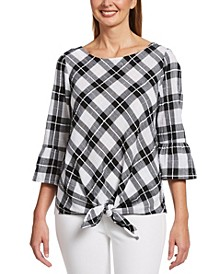 Gingham Print 3/4 Sleeve Blouse