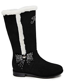 Little Girls Black Faux Fur Riding Boot