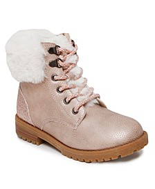 Big Girls Fur Cuff Combat Boot