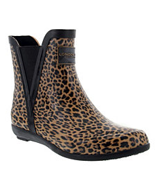London Fog Women's Piccadilly Chelsea Ankle Rain Boot