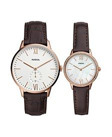 His and Her Three-Hand Brown Leather Box Set 42mm