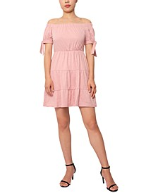 Off-The-Shoulder Tie-Sleeve Seamed Baby-Doll Dress