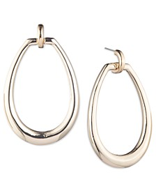 Gold-Tone Oval Drop Hoop Earrings