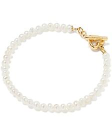 Gold-Tone Freshwater Pearl (3-1/2 x 4mm) Strand Bracelet