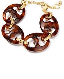 Gold-Tone Tortoise-Look Linked Bracelet
