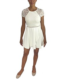 Juniors' Lace-Bodice A-Line Dress