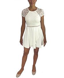 City Studios Juniors' Lace-Bodice A-Line Dress