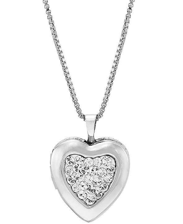 """Macy's Crystal Cluster Heart Locket 18"""" Pendant Necklace in Sterling Silver"""