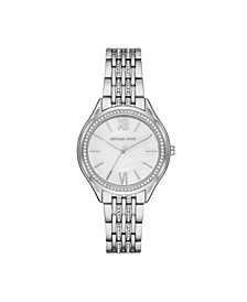 Women's Mindy Silver-Tone Stainless Steel 7-Link Bracelet Watch 36mm MK7075