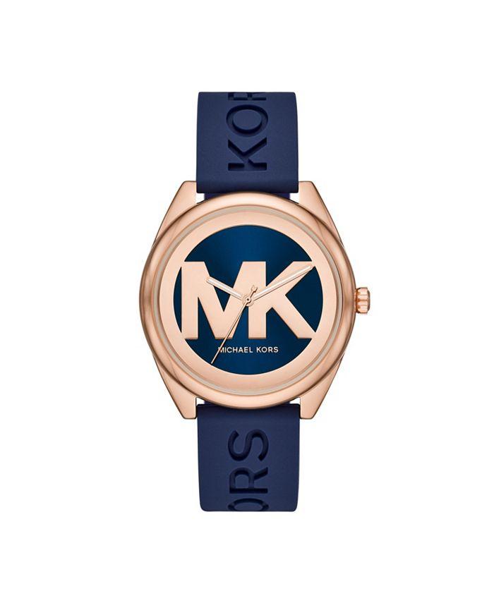 Michael Kors - Women's Janelle Three-Hand Navy Silicone Watch 42mm MK7140
