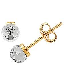 Swarovski Crystal Button Stud Earrings in 10k Gold