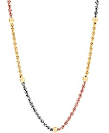 "Tricolor Beaded Rope Link 18"" Chain Necklace in 10k Gold, White Gold & Rose Gold"