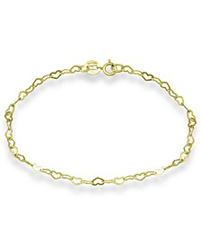 18K Gold over Sterling Silver Heart Chain Ankle Bracelet, also available in Sterling Silver, Created for Macy's