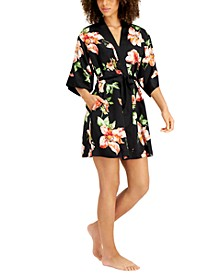 INC Floral-Print Satin Wrap Robe, Created for Macy's