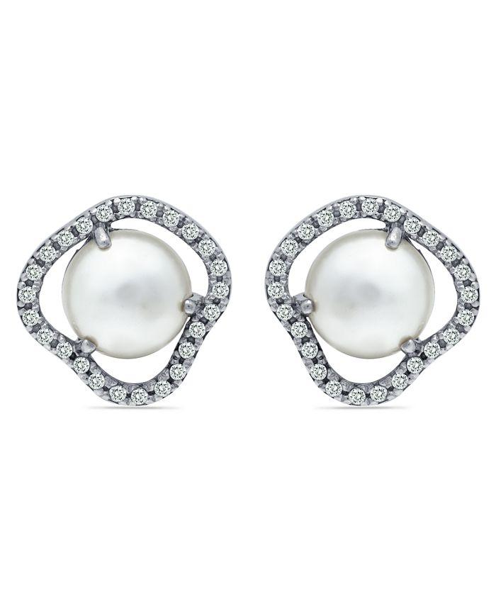 Macy's - Imitation Pearl Cubic Zirconia Halo Button Earring in Fine Silver Plate