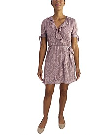 Juniors' Ruffled Faux-Wrap Dress