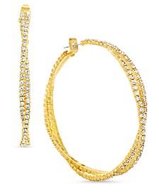 "Gold-Tone Medium Crystal Twisted Double Hoop Earrings, 2.04"""